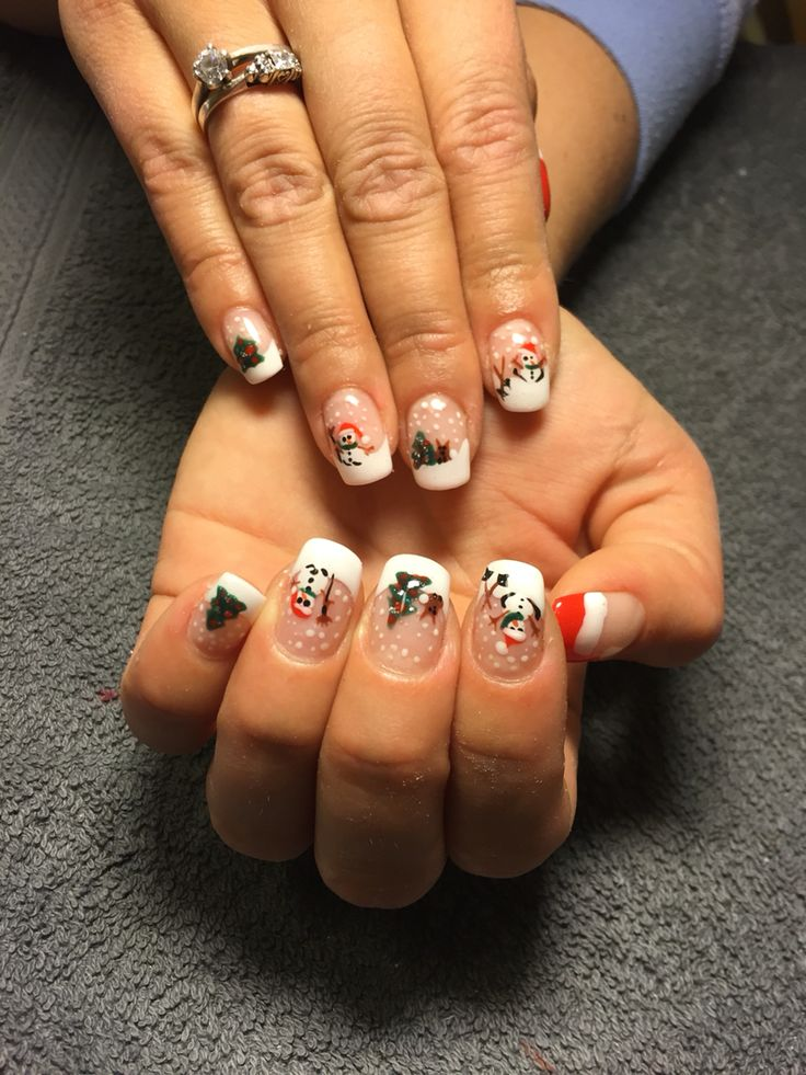 Nails, xmas, hand painted