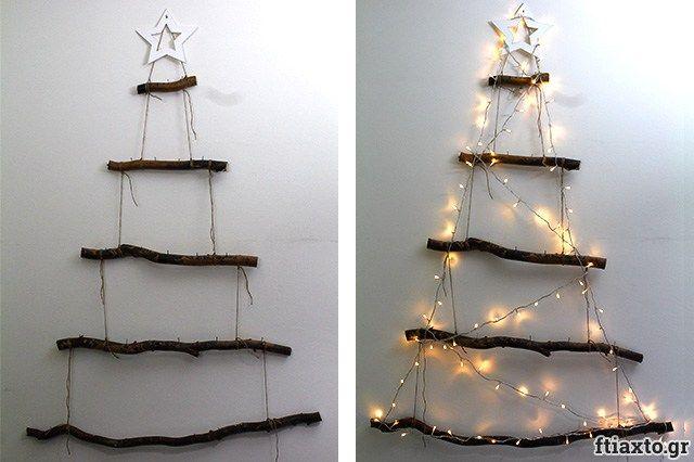 Χριστουγεννιάτικο δέντρο τοίχου από κλαδιά - ftiaxto.gr