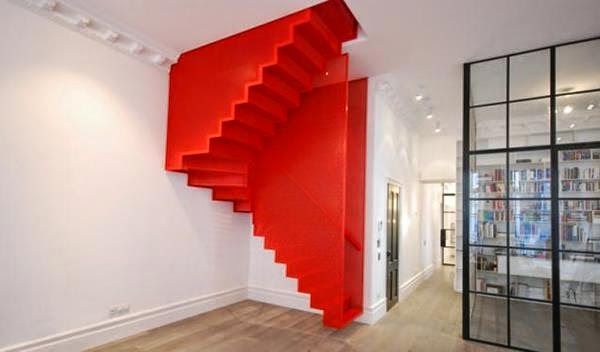 space saving stairs design for small living room