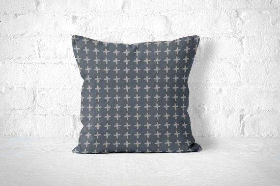 Grey Throw Pillow, Scandinavian Pillow, Crosses, Cute Throw Pillow, Accent Pillow, Grey Pillow Case, Grey Pillow, Minimalist Pillow, Modern