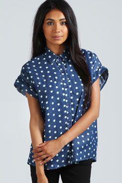$40 Betty Dark Denim Spot Shirt boohoo.com
