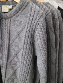 Kids Cable Jumper in Grey, by Jude. Knitted in Australia in 100% Merino Wool. Available from: https://www.judeaustralia.com/product/kids-cable-jumper/