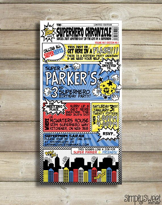 The 25 best Superhero invitations ideas – Super Hero Party Invitation