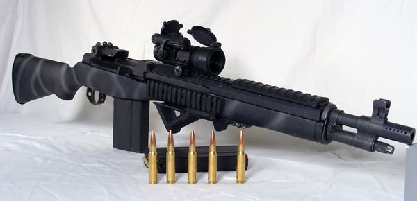Custom M14.  The 7.62 NATO rounds pack some serious punch.