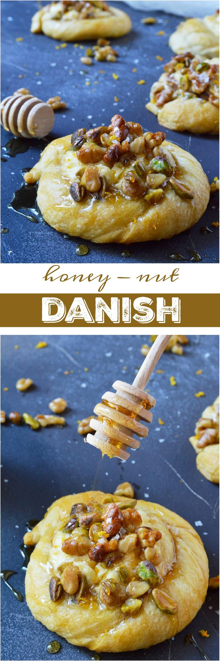 Do you want to make an amazing breakfast pastry without all the fuss? This Honey Nut Cream Cheese Danish Recipe is unbelievably simple. Use crescent rolls as a shortcut then fill with orange infused cream cheese, top with honeyed walnuts and pistachios. A cheese danish with flavors inspired by baklava! #ad #RethinkSweet