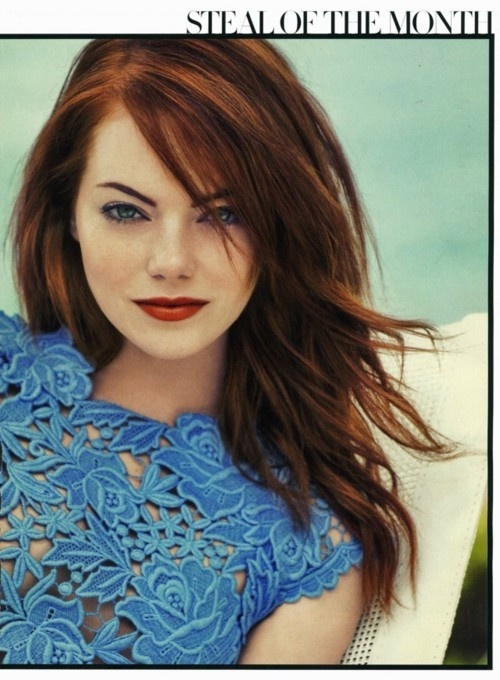 Emma Stone in this color blue with that color hair with that subdued red lip color=close to perfection fashion-around-the-world