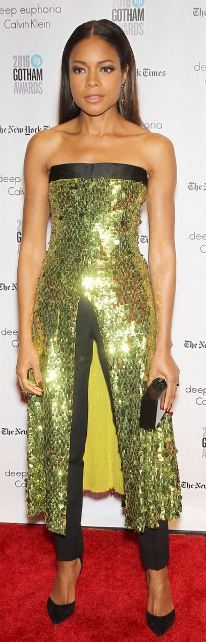 Who made Naomie Harris' green strapless sequin top and black clutch handbag?