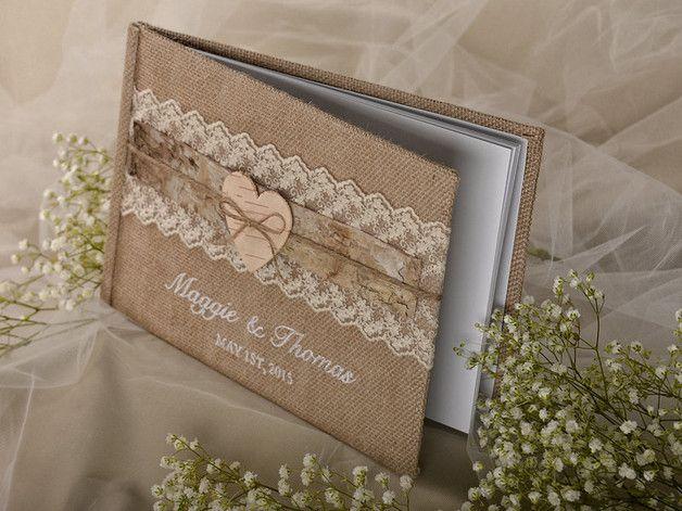 """Jute Rustikale Hochzeit Gästebuch 01/ru/kwg mit Spitze und Birkenrinde Herz  Buchdecke: Jute Größe: 28 cm x 21 cm (11.2 """" x 8,4"""") Personalisierung : FREI ! Seitenzahl : 86 (43 Blatt..."""