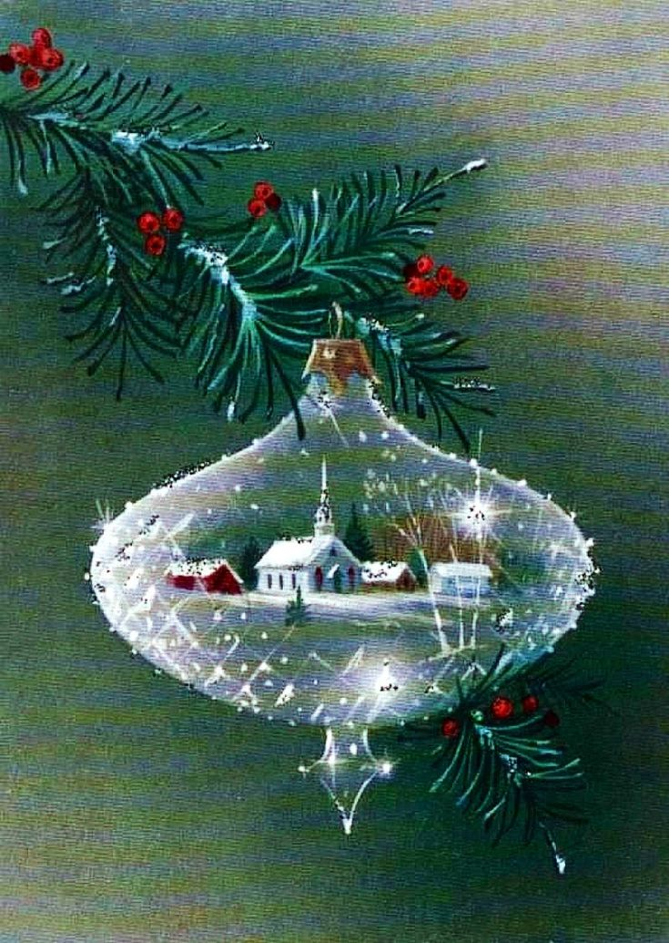 Vintage Christmas Card Crystal ornament. → For more, please visit me at: www.facebook.com/jolly.ollie.77
