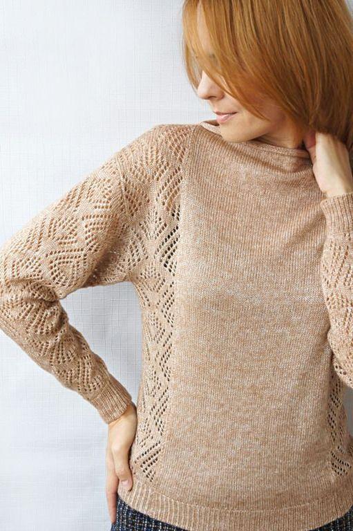 Купить Пуловер Жемчужная пыль - кремовый, однотонный, на заказ, на каждый день…
