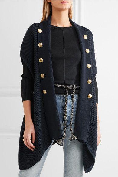 Pierre Balmain - Embellished Ribbed Cotton Cardigan - Navy