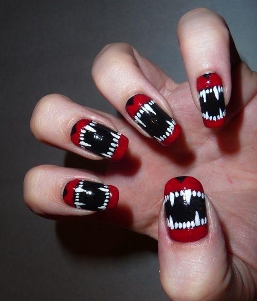 Agrégale unos dientes a tus uñas con este fantástico diseño de uñas, ideal para la noche de Halloween, luce otros diseños en http://www.1001consejos.com/unas-para-noche-de-brujas