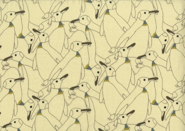 Brushed Cotton Penguins from Kiyohara: Kiyohara's elegant colony of penguins is the perfect motif for cold days and even colder nights! Brushed Cotton Penguins is a cozy, soft lightweight flannel-like fabric perfect for cuddling. Use it for special pajamas, nightgowns and bedding! $26.40 per yard