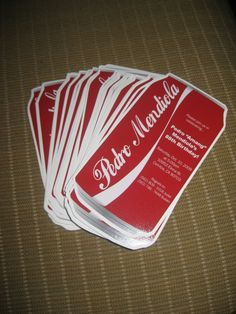 Coca Cola Can inspired invitations, collaboration with Icelee Garduno For samples, prices & order