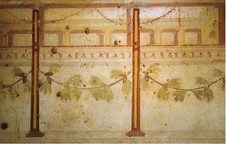 -36, Rome, Palatin, Maison d'Auguste, Triclinium 5 Salle à manger 2e STYLE Sanctuaire de campagne, scénographie de drames satyrique, mettent en scène figures mythologiques. Jeux de transparences, couleurs surprenantes (gris bleu). BETYLES aniconiques (// PAPHOS, CHYPRE): Thème du retrour de l'Âge d'Or et règne d'Apollon (prévu par Sibylle de CUMES) avec Auguste. Retour à la piété rustique, primitive, originelle.