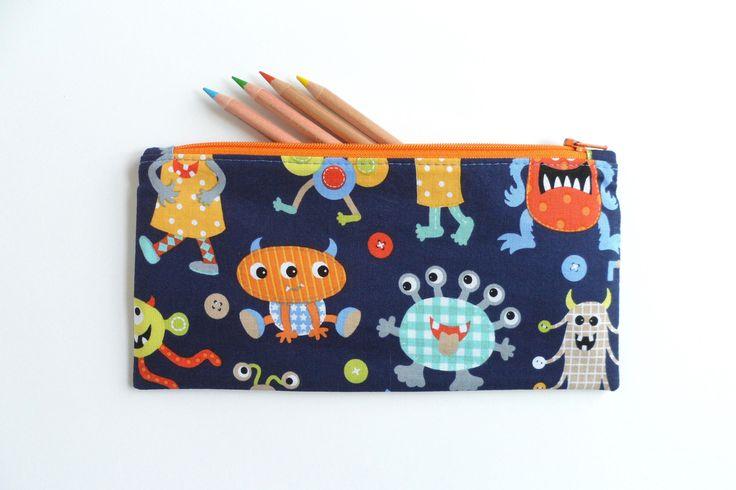 Kids pencil case - navy monster fabric, zipper purse, small pencil case, toy storage pouch, kids purse, zipper bag, diaper bag zip pouch by LittleFoxSewsLots on Etsy