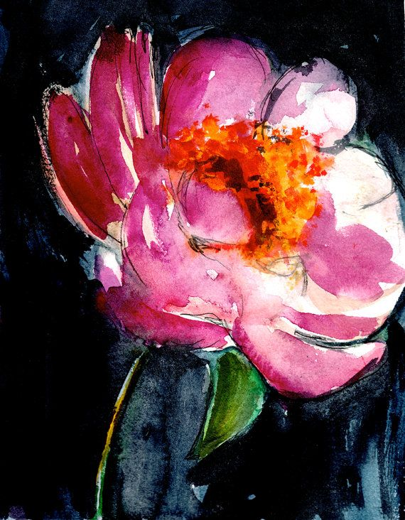 Peony II - Watercolor Painting - Abstract Floral - Pink ...