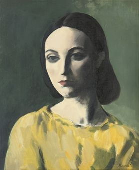 JACOB KRAMER (Ukraine 1892-1962 England), Portrait of a Young Woman, o/c. Kramer came to England in 1900, settling in the Jewish colony in Leeds. Initially studying at Leeds School of Art, he continued his tuition at the Slade School in London (1913-14). Although influenced by the vorticists and other contemporary movements, Kramer never succumbed completely to them and his lifelong interest was in portraiture. Sold through Christies, 2008.