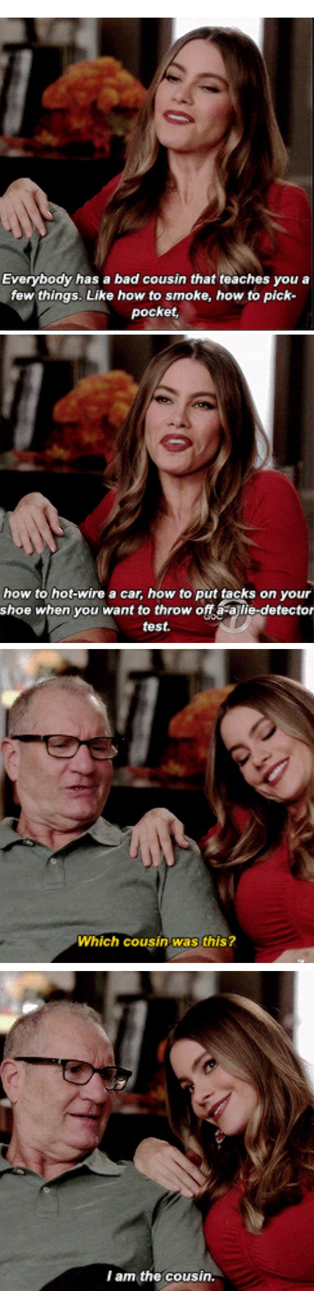 "When she was proud to be ""that cousin."" 
