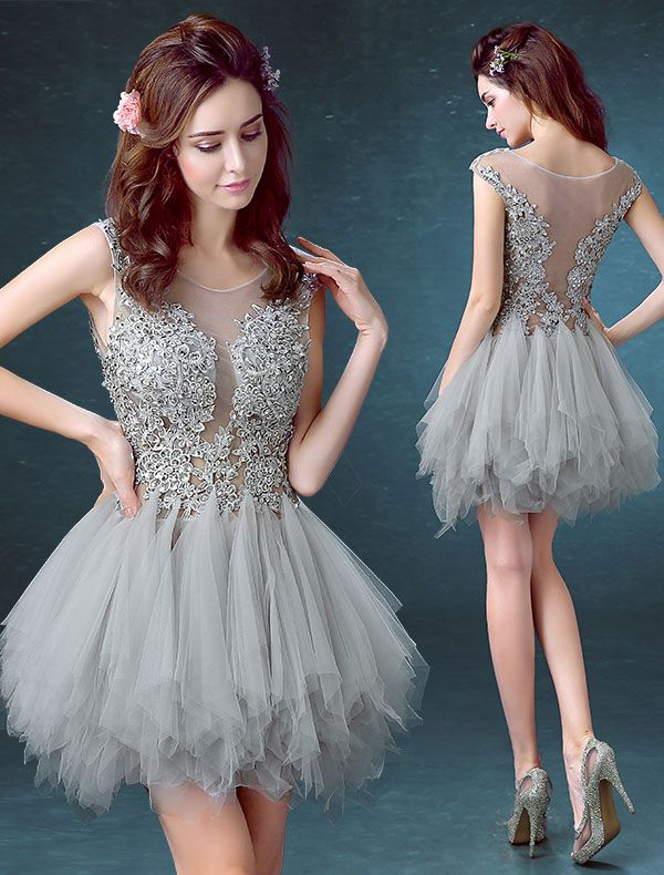 Tulle Homecoming Dresses,Scoop Homecoming Dress,Cute Homecoming Dress,