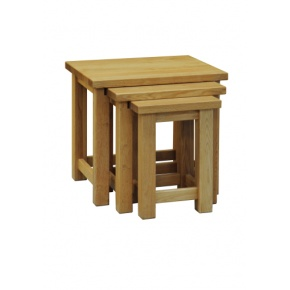 Contemporary Solid Oak QPNT Nest of Table  www.easyfurn.co.uk