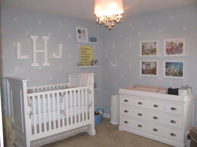 Polka dots are cool, but more than anything, I like the softness of the white furniture and pale blue walls.
