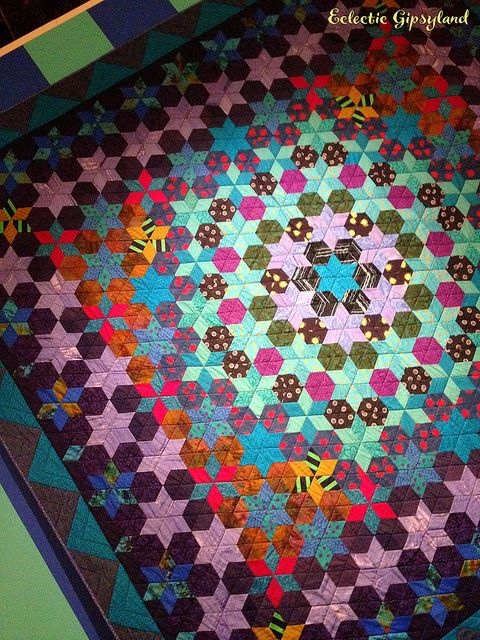 From Eclectic Gipsyland: a Kaffe Fassett quilt from his A Life In Colour show at London's Fashion and Textile Museum.