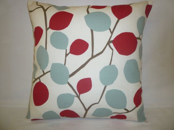 Pillow Color choices Red Duck Egg Blue Designer by WickedWalls, $14.50 I like the red/blue and the red/green ones
