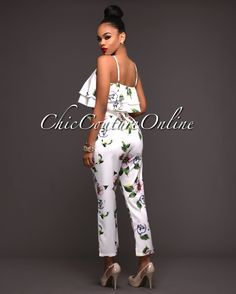 Cayson Ivory Multi-Color Floral Print Two Piece Set