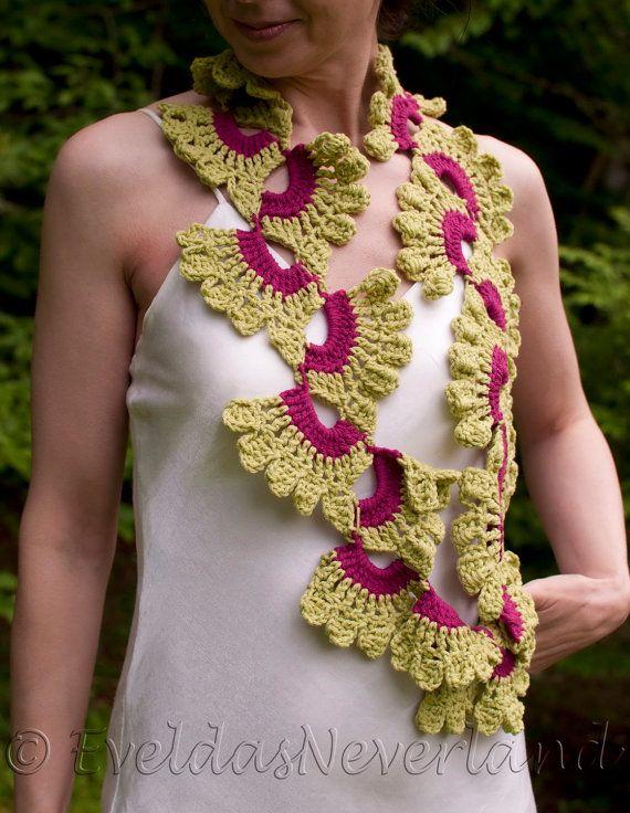 Crochet openwork lace lacy boho scarf shawl