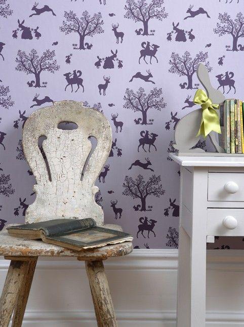 Girls Wallpaper - Lavendar enchanted woodland