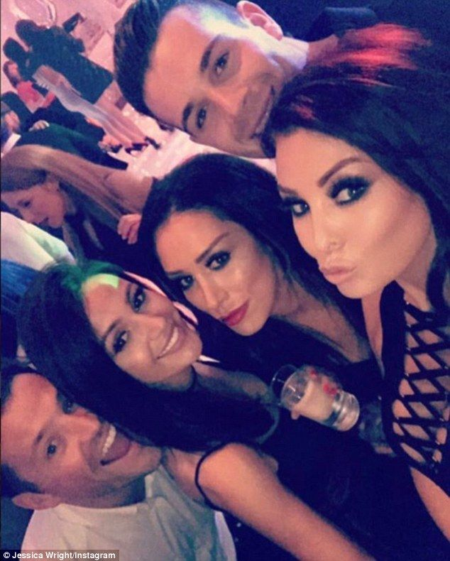 Group selfie! Jessica Wright, right, shared a snapshot of herself with brother Mark Wright and his wife Michelle Keegan, second left, as they celebrated his 30th birthday on Saturday night