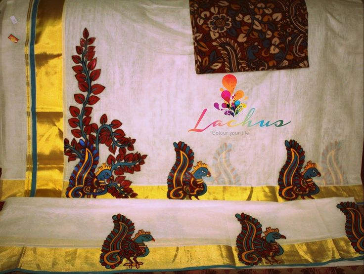 10 best kerala mural sarees images on pinterest sarees for Aithihya mural painting fabrics