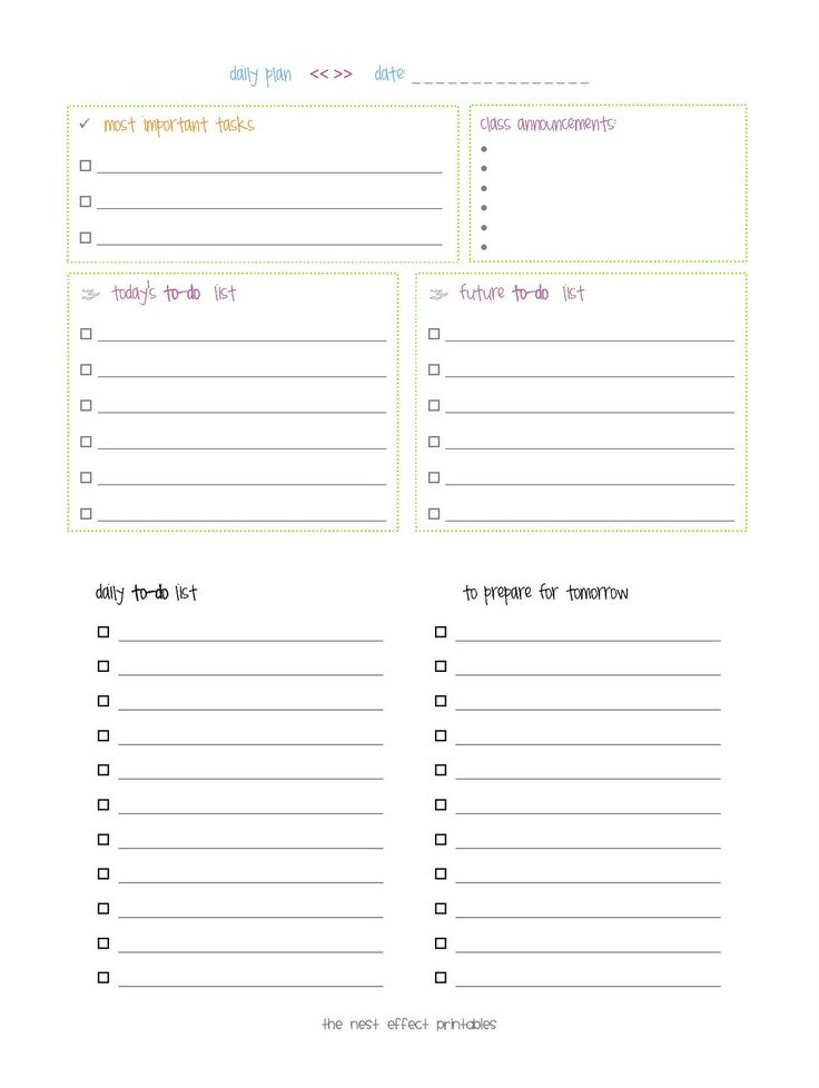 The Nest Effect: Free Printable for a Limited Time: Daily Plan for Teachers -- EXPIRED!