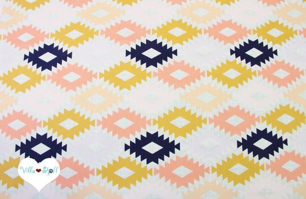 Stoff grafische Muster - ARIZONA ▲ ethno Stoff pastell Baumwolle ArtGallery - ein Designerstück von Villa-Stoff bei DaWanda
