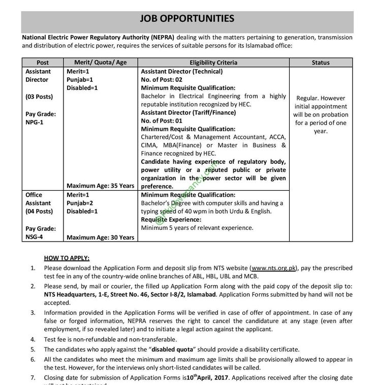 National Electric Power Regulatory Authority Jobs NEPRA Islamabad - disability application form