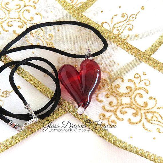 Glas Herz Anhänger handgefertigte Boro Glas von GlassDreamsHawaii