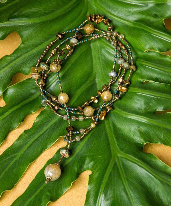 Mystic wrap lariat/ five wrap bracelet/ double wrap necklace/