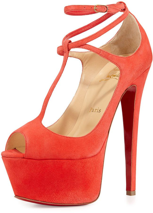 $1,195, Red Suede Heeled Sandals: Christian Louboutin Talitha Suede Red Sole Platform Pump Poppy. Sold by Bergdorf Goodman. Click for more info: https://lookastic.com/women/shop_items/198008/redirect