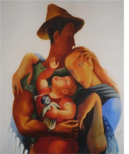 Family - Jose de Almada-Negreiros 1940, ArtDeco Wikipaintings