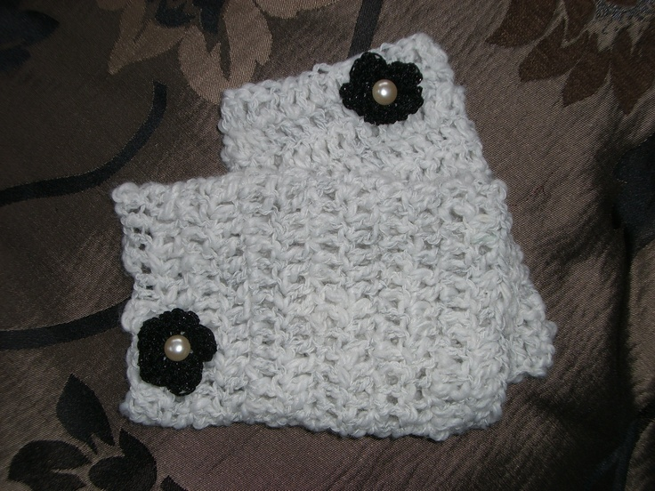 Fingerless mitts in oatmeal with black flower adornment