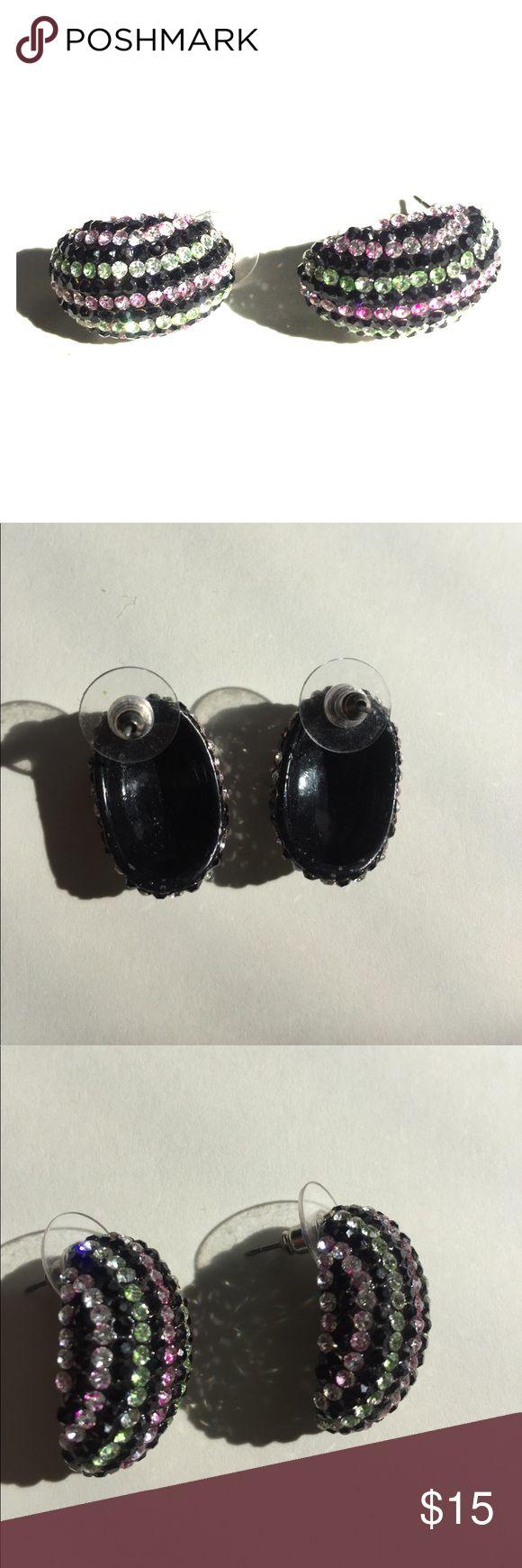 Custom rhinestone prom/pageant earrings Custom made rhinestone earrings, green, pink, and, black Jewelry Earrings