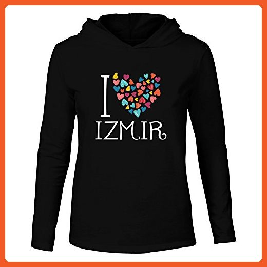 Idakoos - I love Izmir colorful hearts - Cities - Hooded Long Sleeve T-Shirt - Cities countries flags shirts (*Partner-Link)