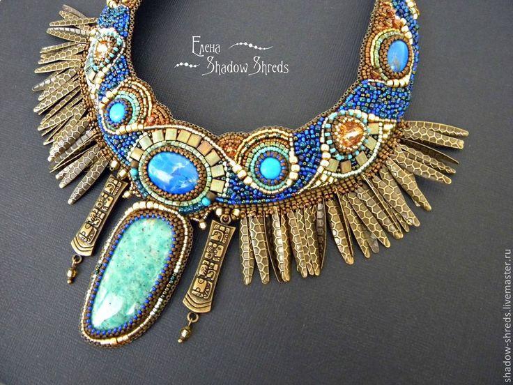 """Купить Колье """"Ночь над Теотиуаканом"""" - синий, бронзовый, голубой, золотой, бирюзовый, коричневый, колье"""