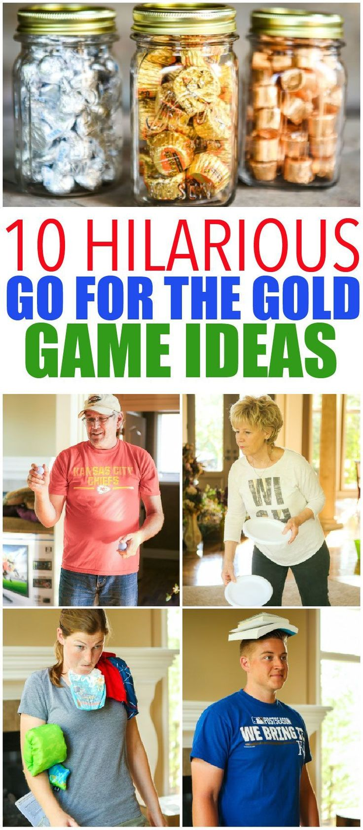 10 hilarious Olympics party games that are perfect for getting ready for the 2016 summer games in Rio! Fun for kids, for teens, and even for adults! Tons of simple minute to win it style activities that use things around the house. And for your winners? Chocolate Olympic medals! I can't wait to try the household triathlon. #christmasgamesforadults