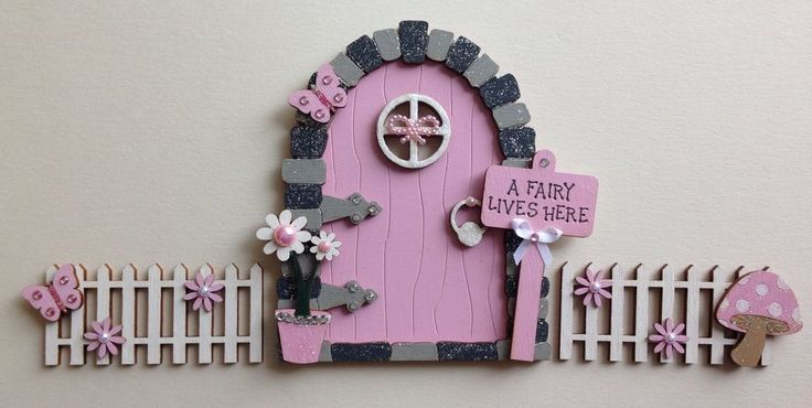 Magical Hand Painted Pink Fairy Door With Fencing | eBay