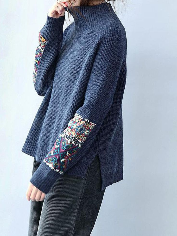 Tribal Printed Patchwork Knitted Sweater - Banggood Mobile