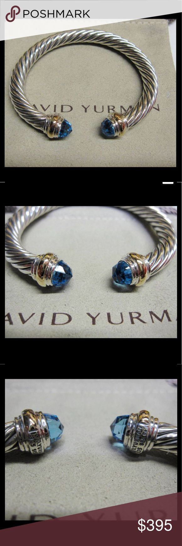 "David Yurman 7mm Blue Topaz Cable Bracelet David Yurman 7mm Blue Topaz Cable Bracelet from the Color Classics Collection  Brand New 7mm Sterling Silver Cable Faceted Blue Topaz Gemstones Hallmarked DY 925 585 Retails for $775 Medium Size: Measures 2 1/4"" across. Fits wrists up to 7"" Comes with the Yurman Pouch Free Shipping David Yurman Jewelry Bracelets"