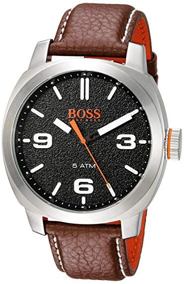 0c5b9ea7293f HUGO BOSS Men s  Cape Town  Quartz Stainless Steel and Leather Casual  Watch
