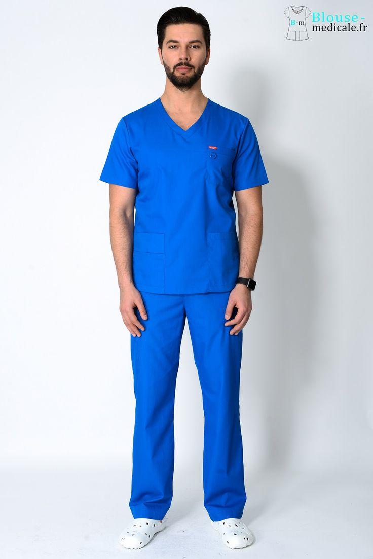 tenue médicale unisexe Orange bleu royal